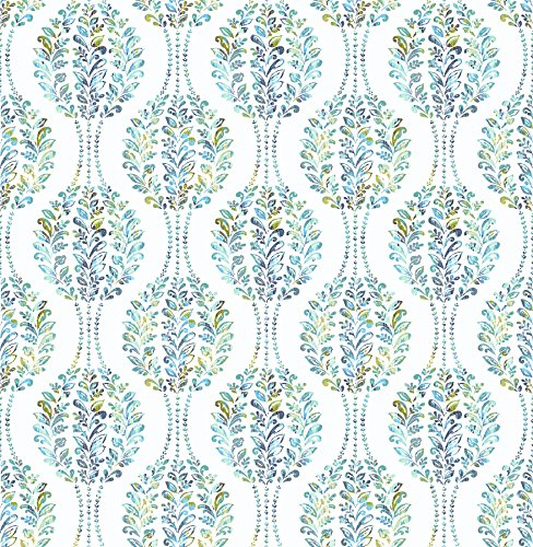 A-Street Prints 2702-22738 Versailles Teal Floral Damask ()