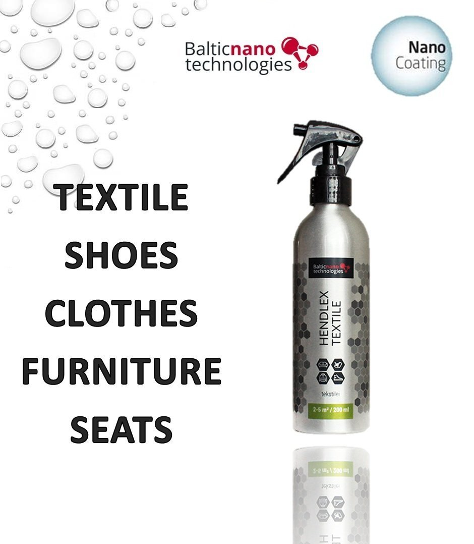 Nano Waterproof Fabric Protector Spray Hendlex 200ml | For Car Home Upholstery and Textile Hydrophobic Protection Dirt Water Repellent for Clothing Clothes & Footwear Shoe Nanotechnology Coating Protect Baltic Nano Technologies
