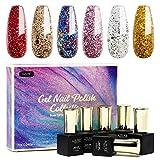 Glitter Gel Nail Polish Set 6pcs - Stunning Colors Glitter Series Nail Art Gift Box, Soak Off UV LED Gel Polish Kit