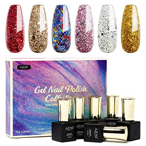 Gel Nail Polish Set 6pcs - Stunning Colors Glitter Series Nail Art Gift Box, Soak Off UV LED Gel Polish Kit