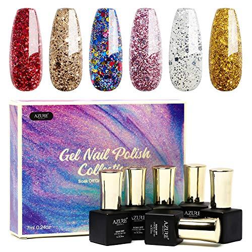 Polish Best Nail (Gel Nail Polish Set 6pcs - Stunning Colors Glitter Series Nail Art Gift Box, Soak Off UV LED Gel Polish Kit)