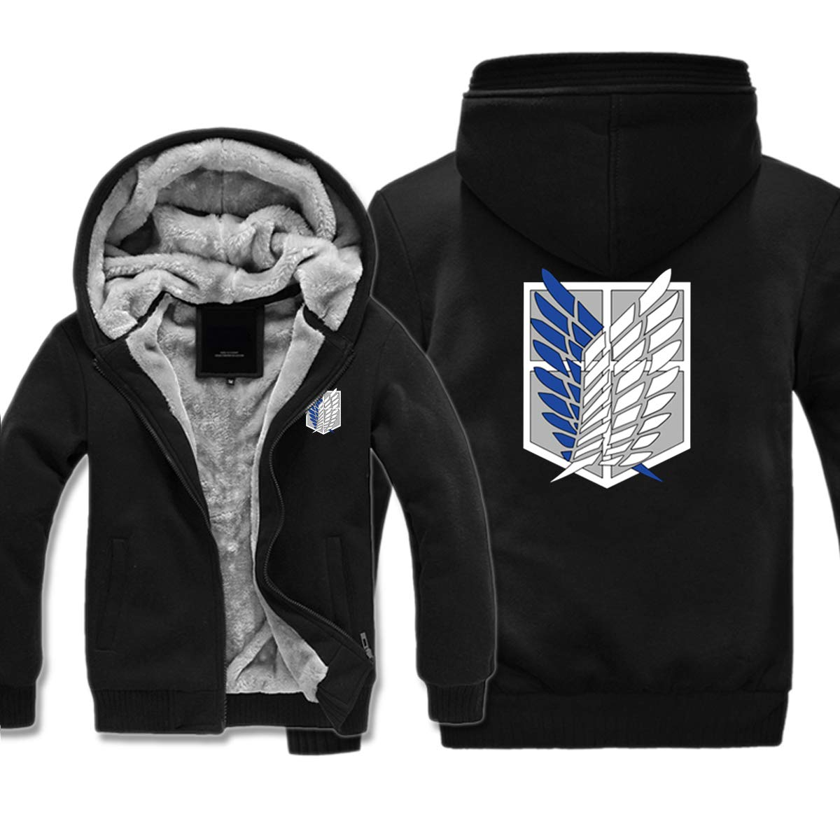 ELEFINE Boys Mens Fleece Thick Hoodies Attack On Titan Cosplay Corps Zip Jacket