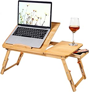 Laptop Bed Tray Multi Tasking Bamboo Lap Desk, Folding TV Tray Table, Smartphone Tablet Lap Tray for Homework Study Reading Eating Food