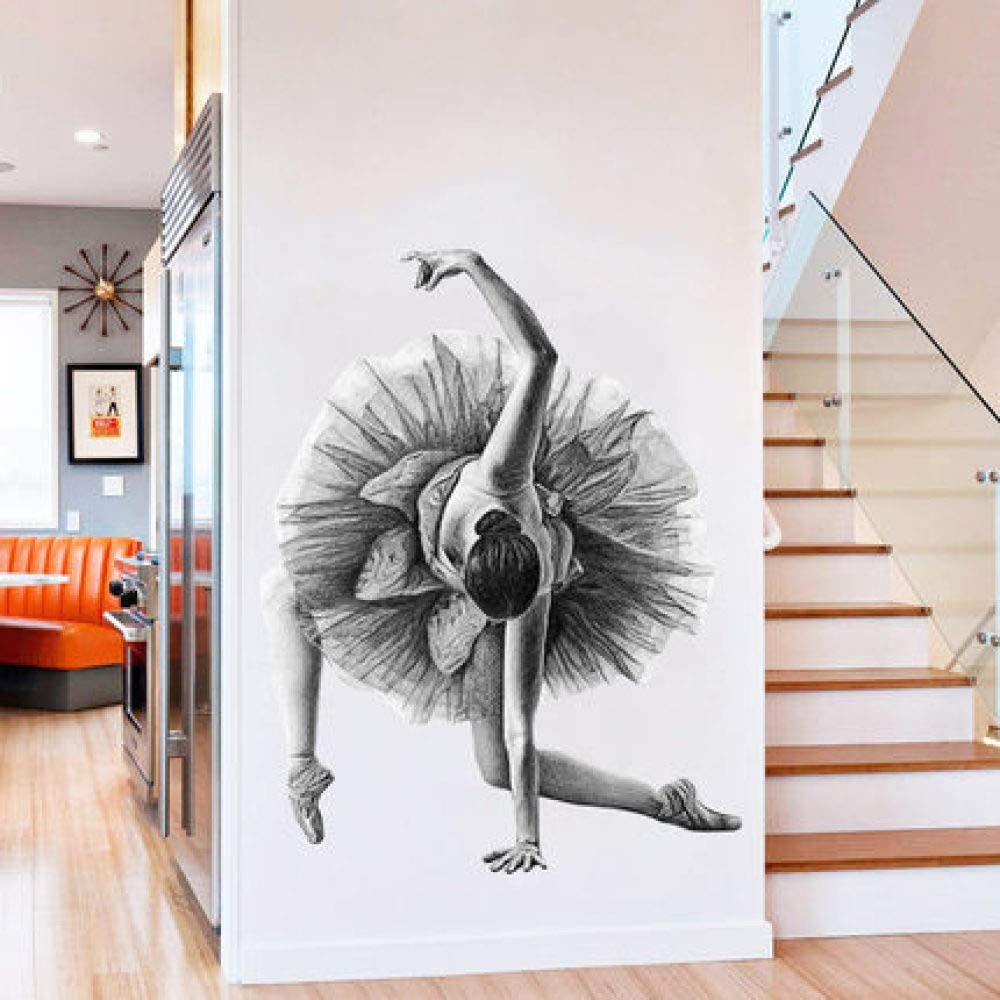JXFM Creative Ballet Girl Abstract Poster Wall Sticker Boceto de Personaje Moderno Sala de Estar Sala de Baile Decoración para el hogar Arte 60x90cm