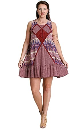 b4bcb713d2d8 Umgee Boho Chic Sleeveless Lace Detail Tunic Dress Plus Size (XL ...