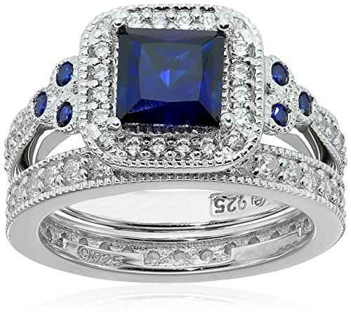Platinum-Plated Sterling Silver Princess-Cut Created Sapphire Vintage Ring Set made with Swarovski Zirconia, Size 5