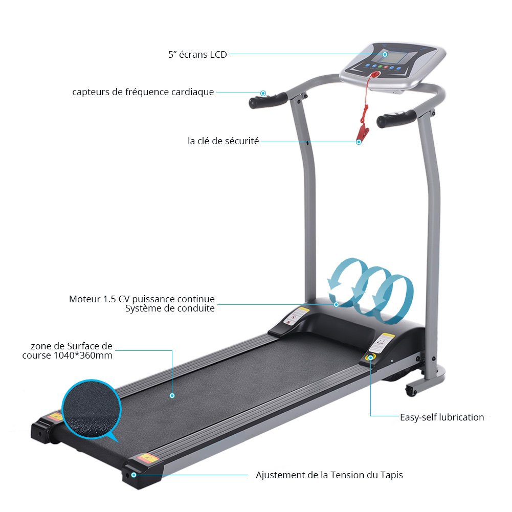 Folding Electric Treadmill Running Machine Power Motorized for Home Gym Exercise Walking Fitness (1.5 HP - Silver - Not Incline) by ncient (Image #3)