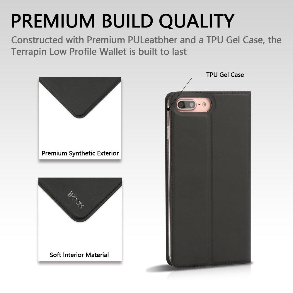 iPhone 8 Plus Case Kickstand Black Cash /& Card Slots IPHOX iPhone 7 Plus Flip Case, Folio Flip Slim Cover Case for iPhone 8 Plus /& 7 Plus D Magnetic Closure 8+ /& 7+ Leather Case with