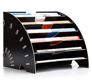 Escritorio Carta Bandejas apilables Sorter Organizador de archivo de sobremesa fanshaped 6 secciones Collection Disco para