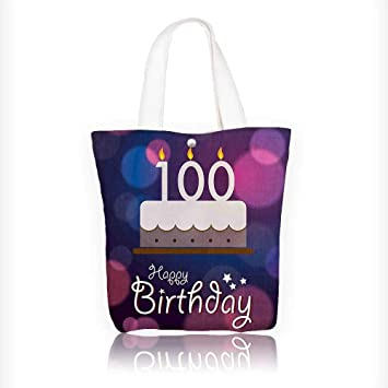 Women s Canvas Tote Handbags Decorations Cartoon Print Cake and Candles on  Abstract Backdrop Image Purple and 0c2695976c