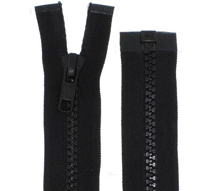 Reißverschluß grau teilbar 200 cm Kunststoff Metall Zipper Kunststoffzähne