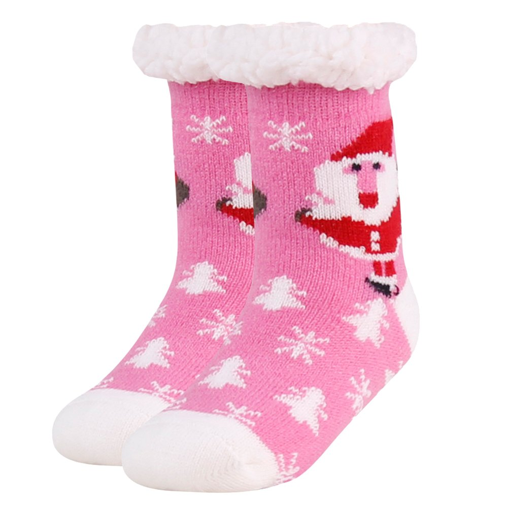 Home Slipper Kids Girls Boys Plush Warm Fuzzy Anti-Skid Lined Indoor House Novelty Christmas Santa Claus Slipper Socks