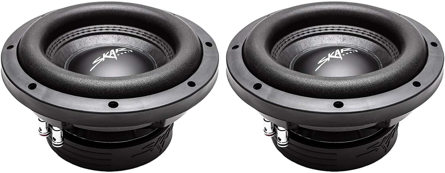 Pair of 2 Skar Audio VD-8 D2 8 600W Max Power Dual 2 Ohm Shallow Mount Subwoofers 2