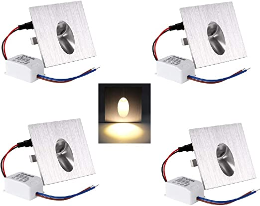 OLEEP LED Lámpara de pared Focos empotrables luz de escalera Iluminación de Pasos, Cuadrada, 8x8cm, 230V, 1W, Blanco Cálido, 4 PCS: Amazon.es: Iluminación