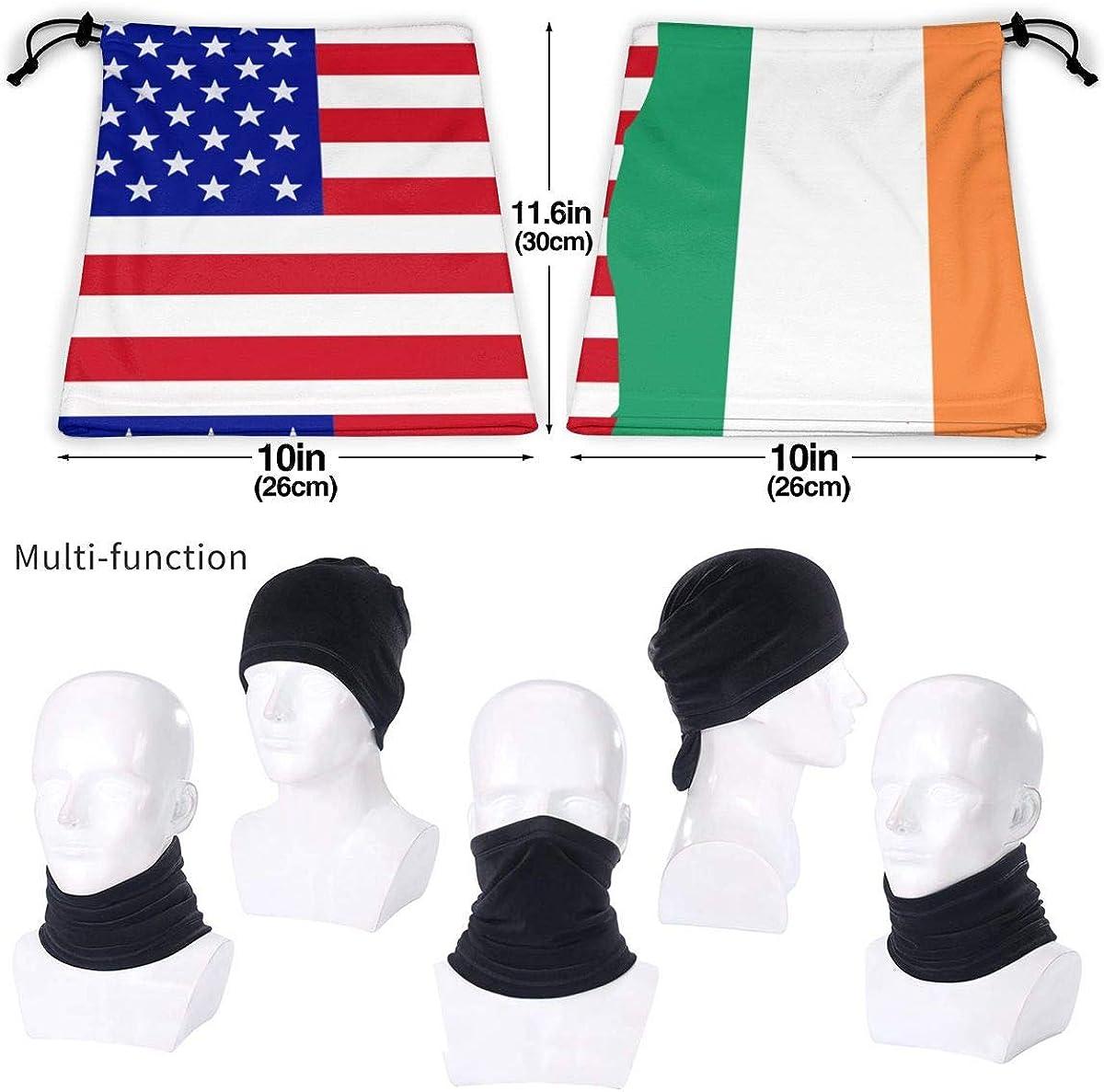 Half USA Half Irish Flag Micro Fiber Seamless Windproof Bandana /& Face Mask /& Neck Warmer Gaiter Shield for Mens Womens