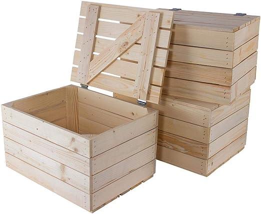 Kontorei® - Baúl Grande de Madera Clara 85 cm x 55 cm x 46 cm, Caja