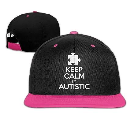 Amazon.com  DEFFWB Keep Calm - I m Autistic Men Womens Snapback Hats ... 4c820040e