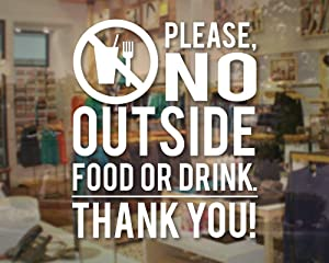 Yilooom Please No Food or Drink Store Business Thank You Sign - Vinyl Decal for Window, Wall