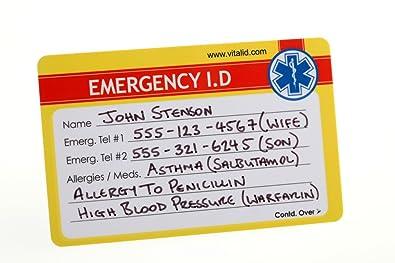 Amazon Com Medical Id Plastic Emergency Id Wallet Card Lot Of 2