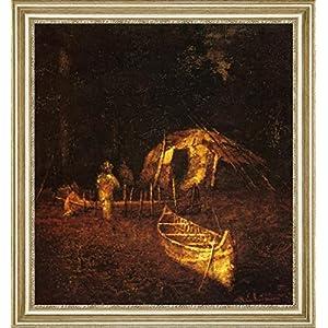 "The Canoe Builders by Ralph Albert Blakelock - 21"" x 21"" Framed Scarce as hen's teeth Canvas Print"