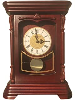 Vmarketingsite Mantel Pendulum Solid Wood Table Battery Operated. Quiet,  Shelf Clock Westminster Chimes On