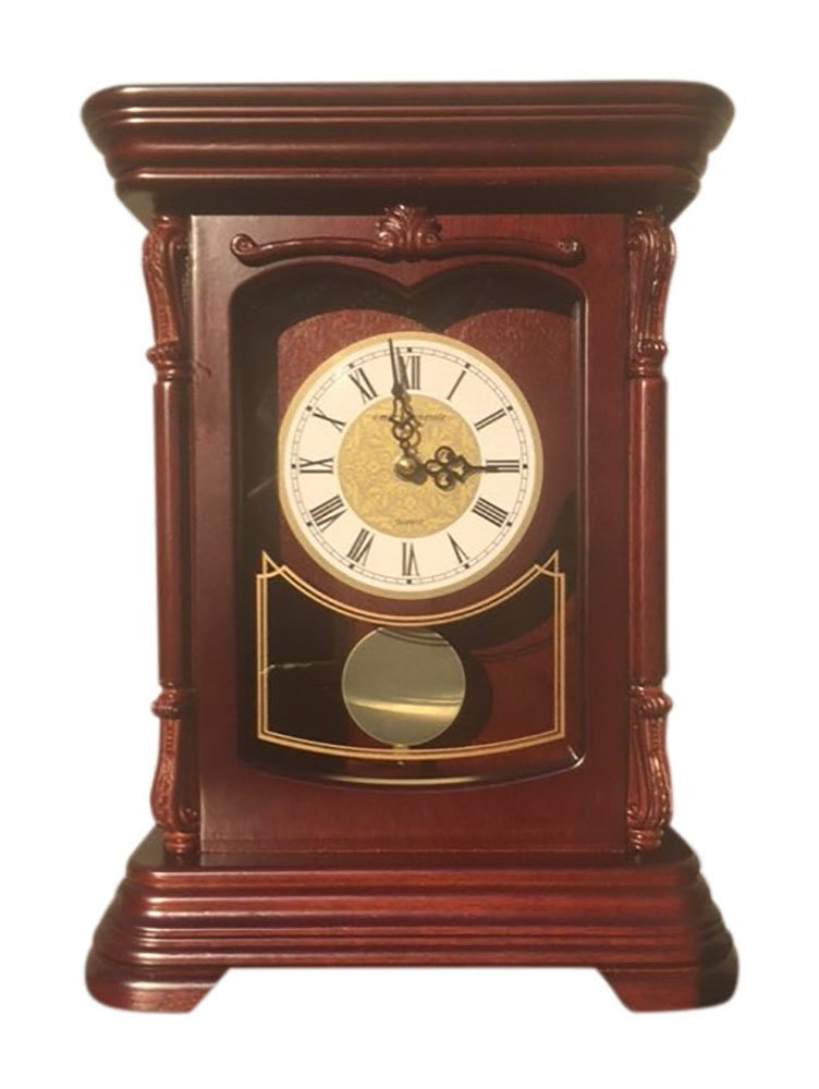 vmarketingsite Mantel Pendulum Solid Wood Table Battery Operated. Quiet, Shelf Clock Westminster Chimes on the Hour. , 9.9'' x 12.6'' x 4.4'', Mahogany