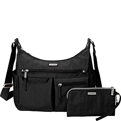 bf8ff3562452 Amazon.com  baggallini Anywhere Large Hobo with RFID Phone Wristlet  (Black)  Shoes