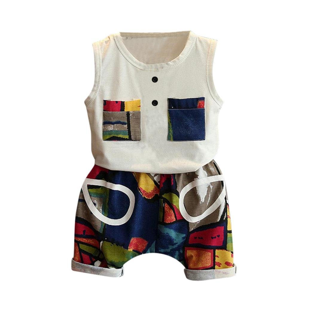 CSSD Kids Baby Boys Casual {Multicolor Patchwork} {Short Sleeve} {Vest Tops+Plaid Pants} (6T, White)