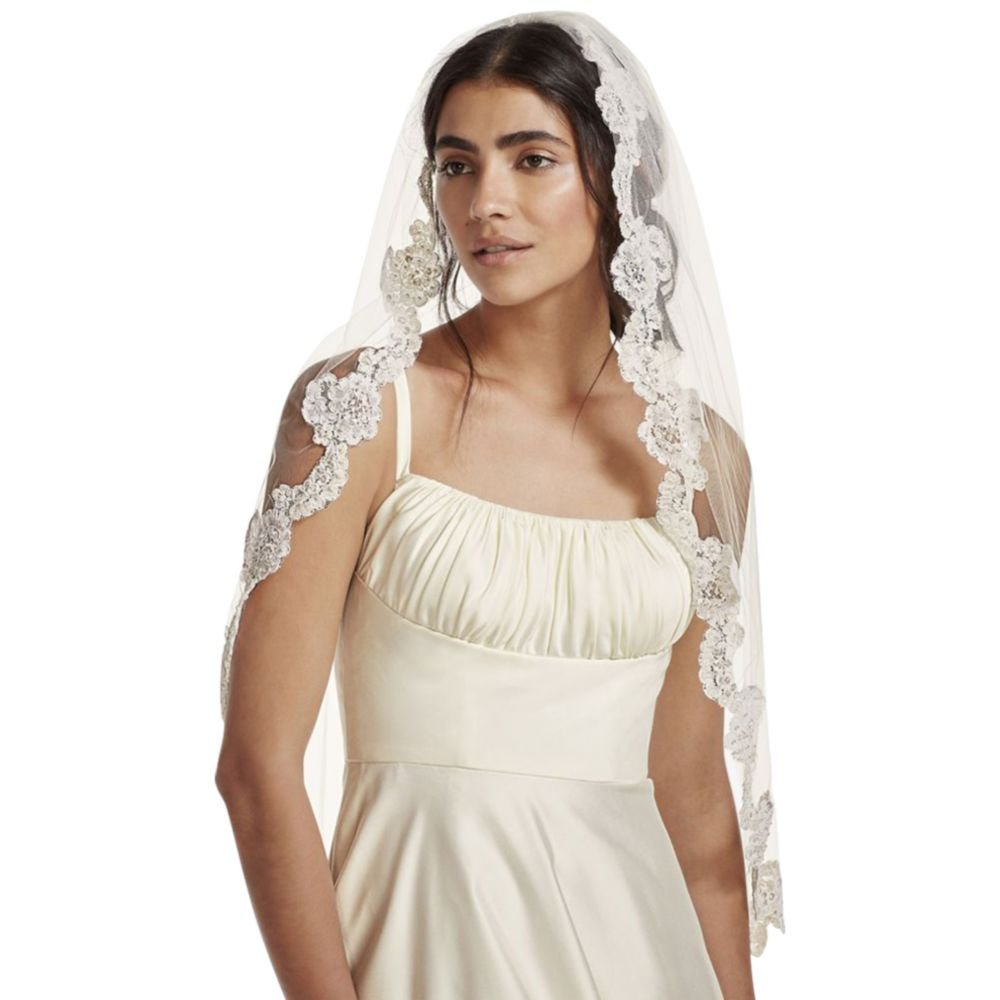 Fingertip Veil with Pearl Embellished Alencon Lace Style VCRL538, Ivory by David's Bridal