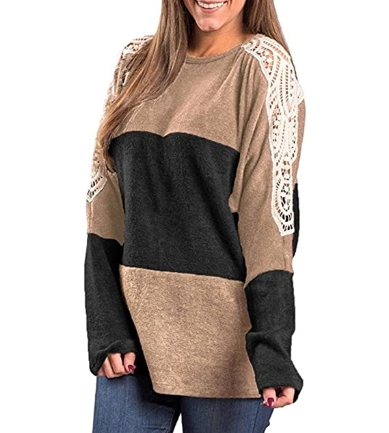 c11b198354853 Myobe Women s Long Sleeve Casual Loose T Shirts Blouse Tops with Thumb  Holes Patchwork (M