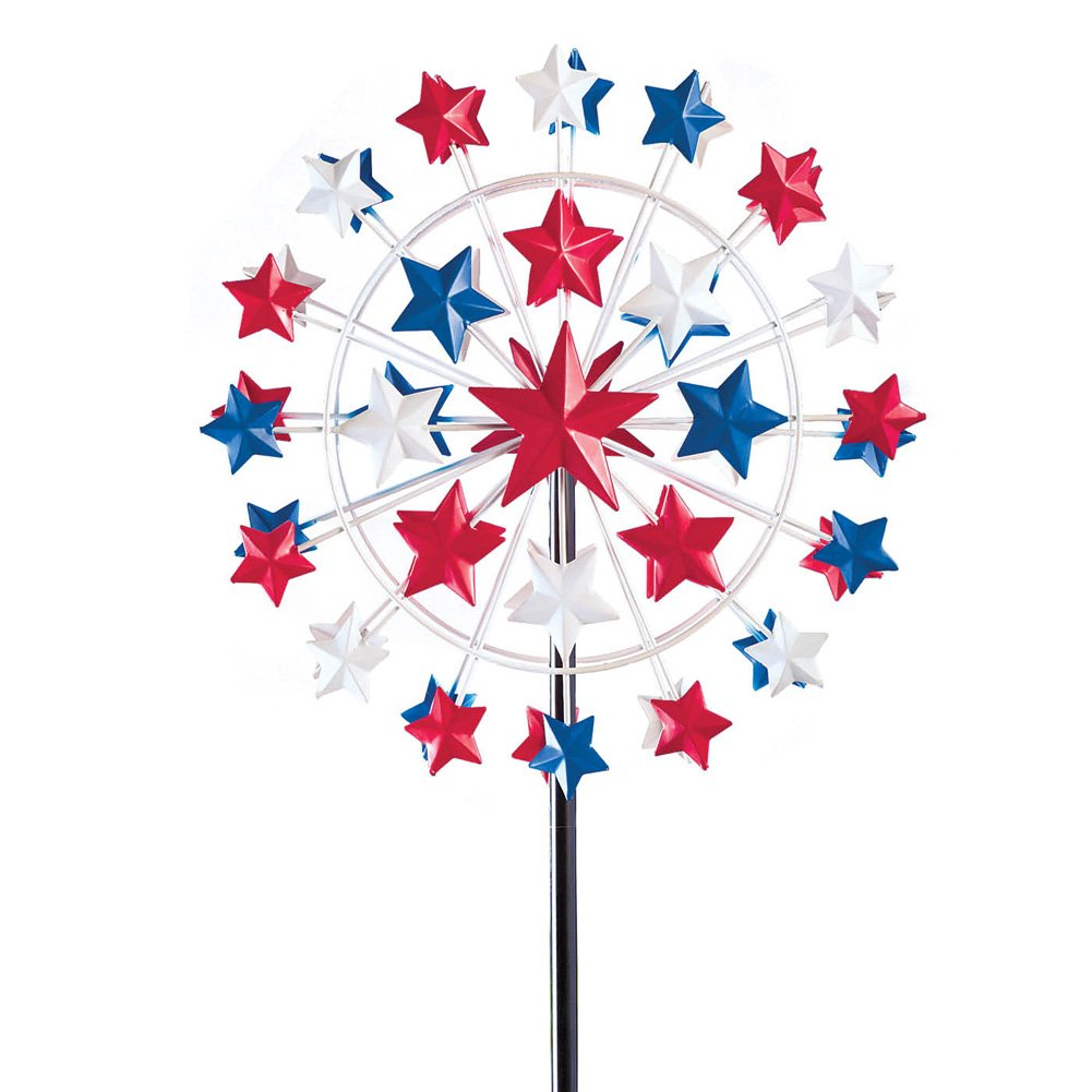 Collections Etc 5 Ft Tall Patriotic Star Garden Wind Spinner