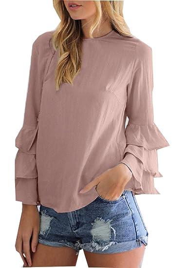 ee7900e2cd14aa AL001 Women Blush Pink Blouses Shirts 2017 Autumn Elegant Ladies O ...