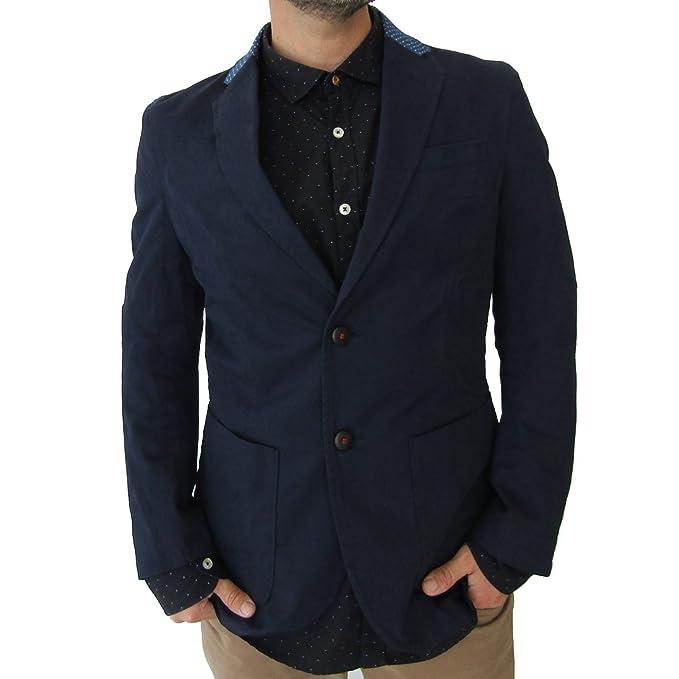 Blazjack Chaqueta Americana o Blazer Hombre de Diseño (M, Navy)