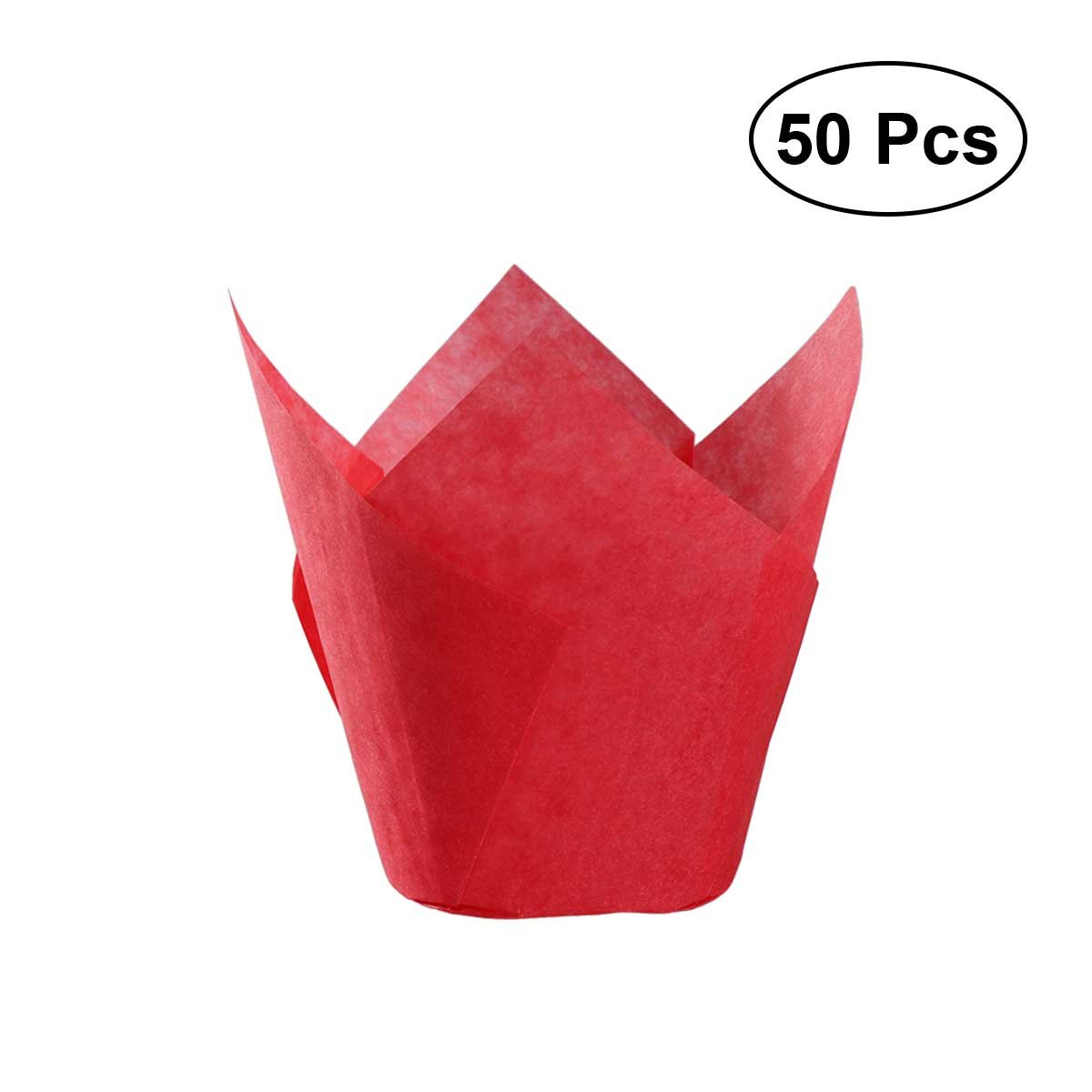 BESTOYARD 50Pcs Cupcake Wrappers Baking Cups Tulip Shape Liners Muffin Cake Cup Party Favors - Orange BESTONZON
