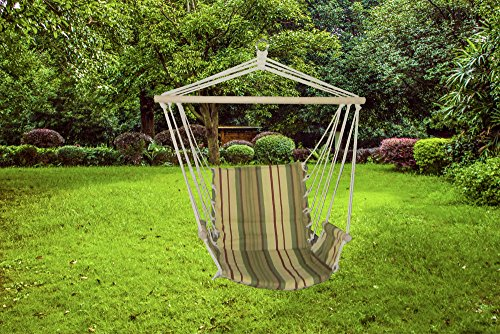 Luxurious Relaxing Green Stripe Cushioned Single Hammock (Hammocks Cushioned Single Swing)