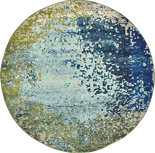Unique Loom Estrella Collection Colorful Abstract Blue Round Rug (8' 0 x 8' 0) ()