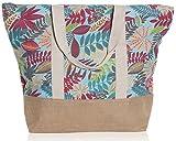 "Beach Bag By Pier 17 - Tote Bag For The Beach, Roomy 20''x18''x6"", Zipper Closure (Tropic Leaves Multi)"