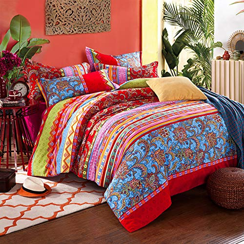 CoutureBridal Boho Striped Bedding Sets Queen Size Red Blue Indian Mandala Floral Printed Reversible Bohemian Duvet Cover Premium 120g/㎡ Microfiber Quilt Covers with Zipper Ties (Duvet Moroccan Style)