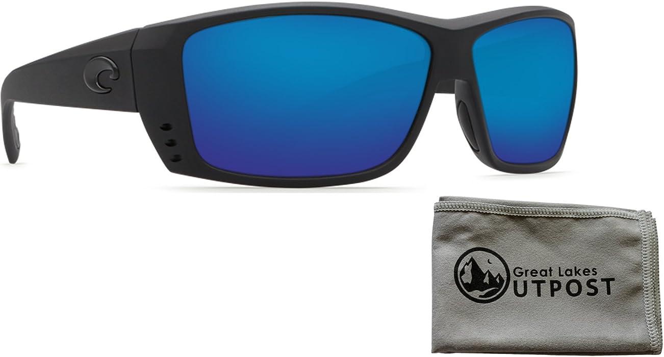9af2186f753 Amazon.com  Costa del mar Cat Cay Blue Mirror Glass - W580 Blackout Frame  Sunglasses w Cloth  Clothing