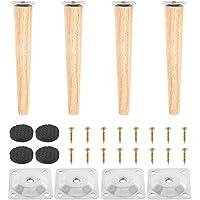 4 stuks houten meubelpoten, vervanging eiken tafelpoten, meubelpoten, bankpoten met montageplaten en schroeven, voor…