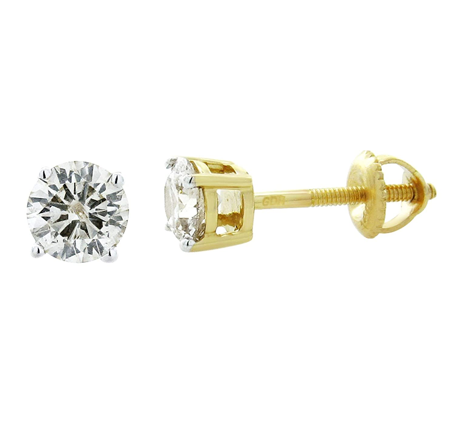 Amazon.com  14K Gold Natural Diamond Earrings 0.20ctw Screw Back 3mm Round  Studs Mens or Womens(i2 i3 24791e69ed