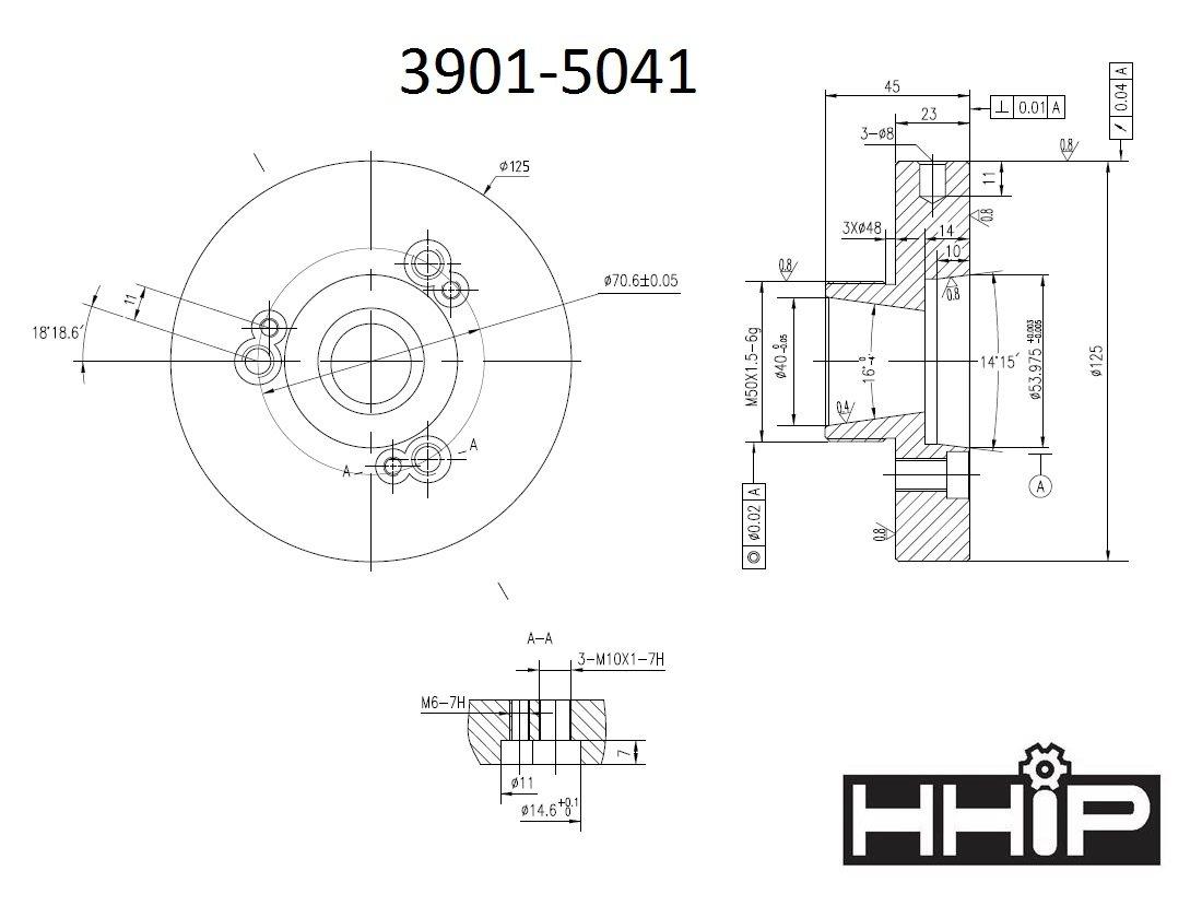 125MM Diameter, D1-3 ER-40 Collet Chuck (3901-5041) by HHIP (Image #1)