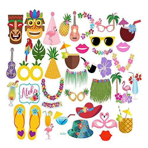 36Pcs Hawaiian Photo Booth Props Kit Photo Props for Beach Pool PartiesTropical Birthdays Wedding and Festivals