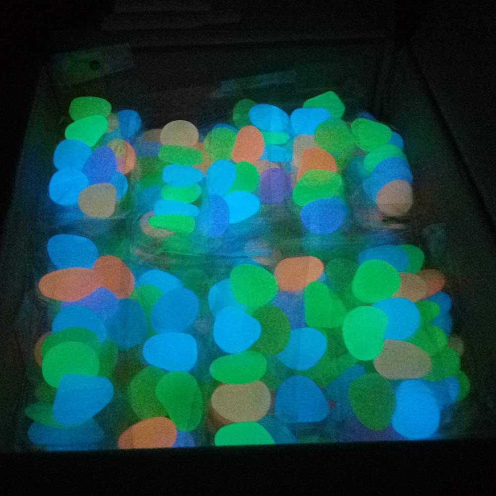 Bedler 500pcs Glow in The Dark Garden Ciottoli per passerelle Acquario Decor Piante Pietre Luminose Pietre Luminose