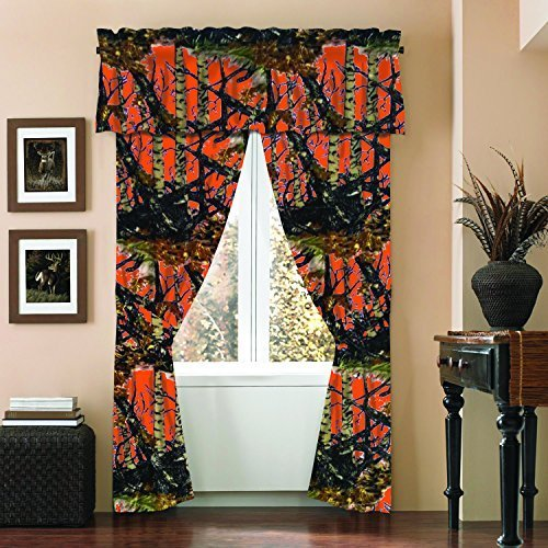 The Woods Camo Curtain & Valance 5 Piece Drape Set Orange by Regal Comfort