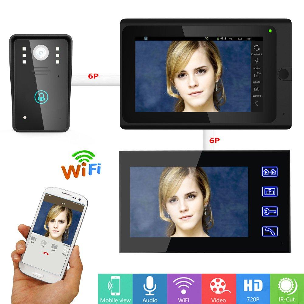 QZH 7-Zoll-Video-Türklingelkamera, verdrahtete Gegensprechanlage LCD-Türklingel-Kit, 2 Monitore, Fernentriegelung, Wasserdichte Nachtsichtklingel für Familien Büro   Villa