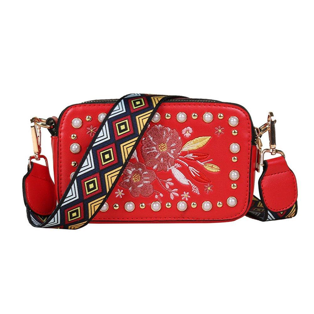 Meaeo Damen Schultertasche Personalisierte Square Bag New Style Lässig. Rot B07CTNDZMY Schultertaschen Neu