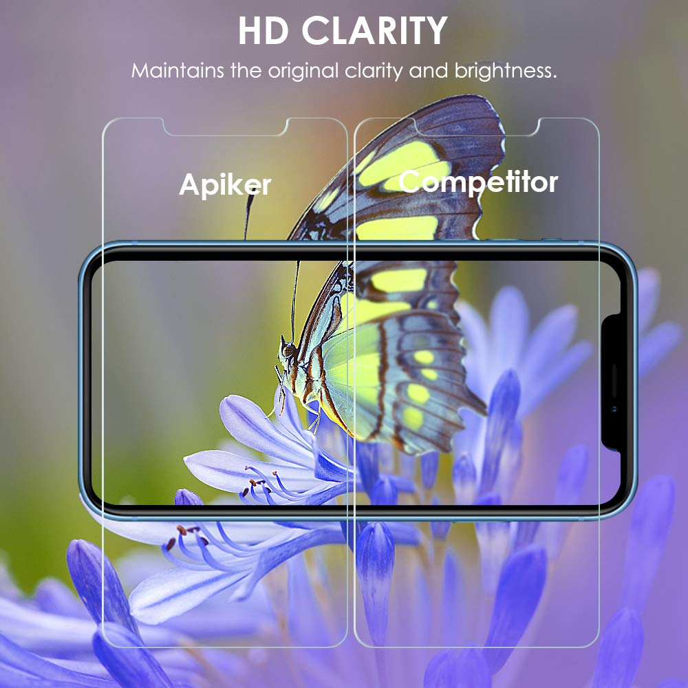 apiker [4 Pack] Screen Protector For iPhone XR 6.1 inch (2018), Tempered Glass Screen Protectors [With Alignment Frame for Easy Installation] [Case Friendly] [Anti-Scratch]