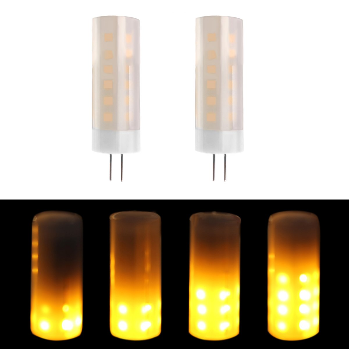 LAKES flame bulb G4 base 1700K True Fire Color led bulb Decorative Lamp for Christmas Halloween Festival Party Pack of 2