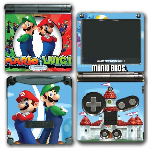 Mario and Luigi Bros Super Hero Golf Kart Smash Video Game Vinyl Decal Skin Sticker Cover for Nintendo GBA SP Gameboy Advance System (Mario Kart Game Boy Advance compare prices)